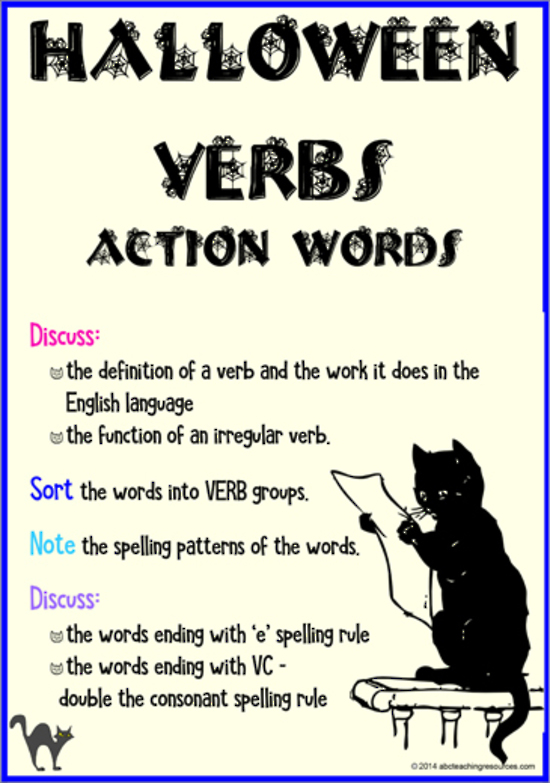 Halloween Action Verbs Flashcards Abc Teaching Resources