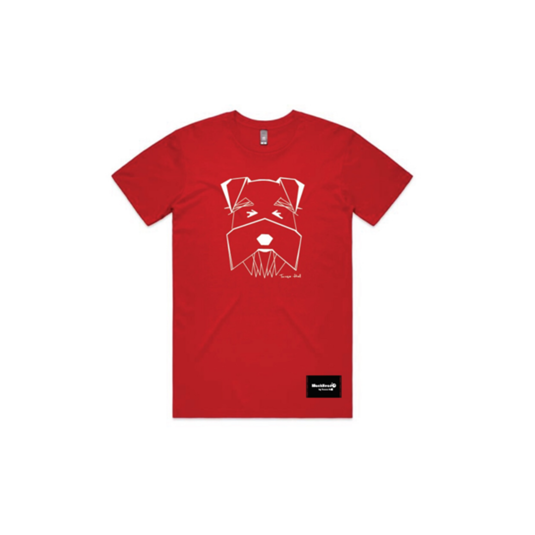 Schnauzer Print Youth Red Tee image 0