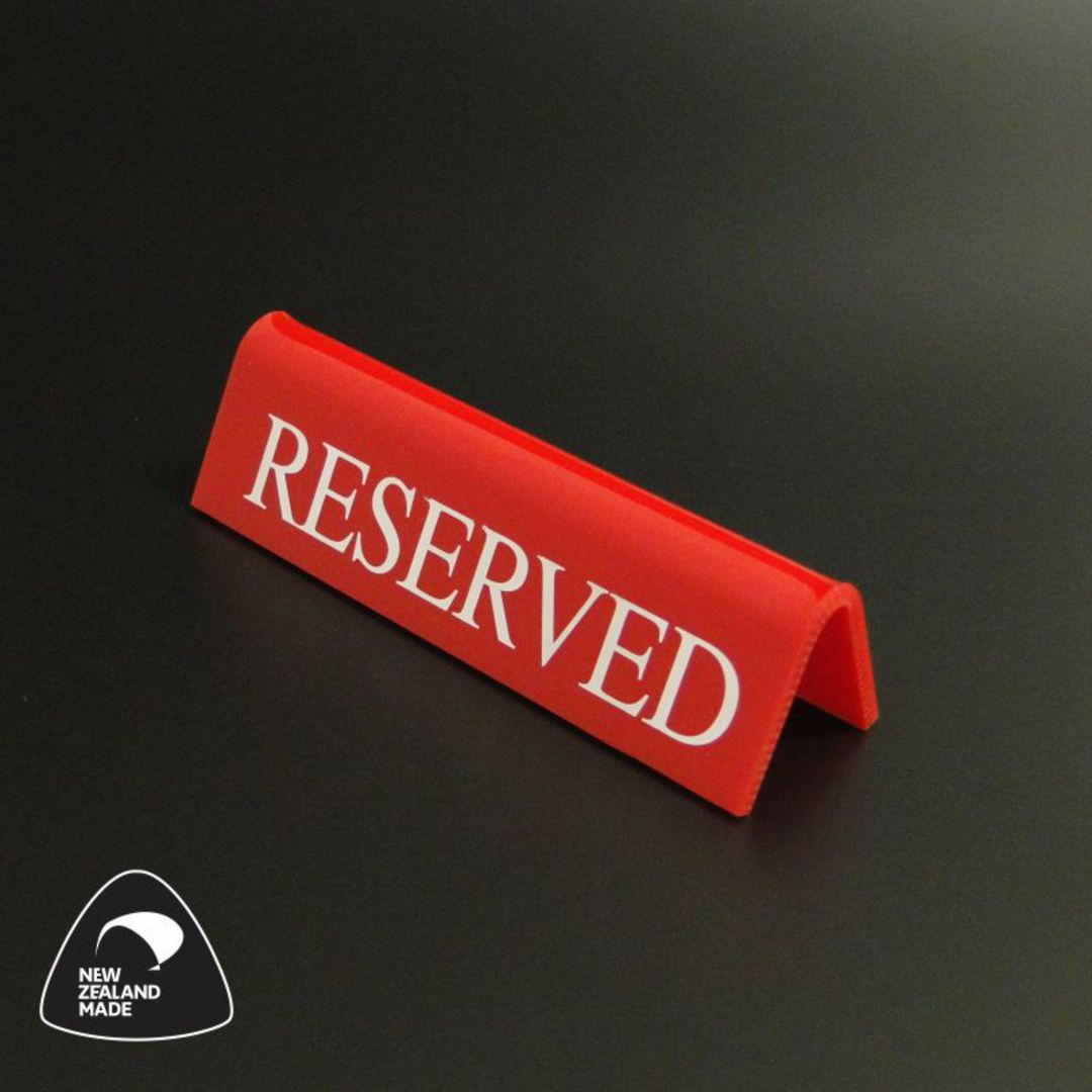 Small Red RESERVED Table Sign image 0