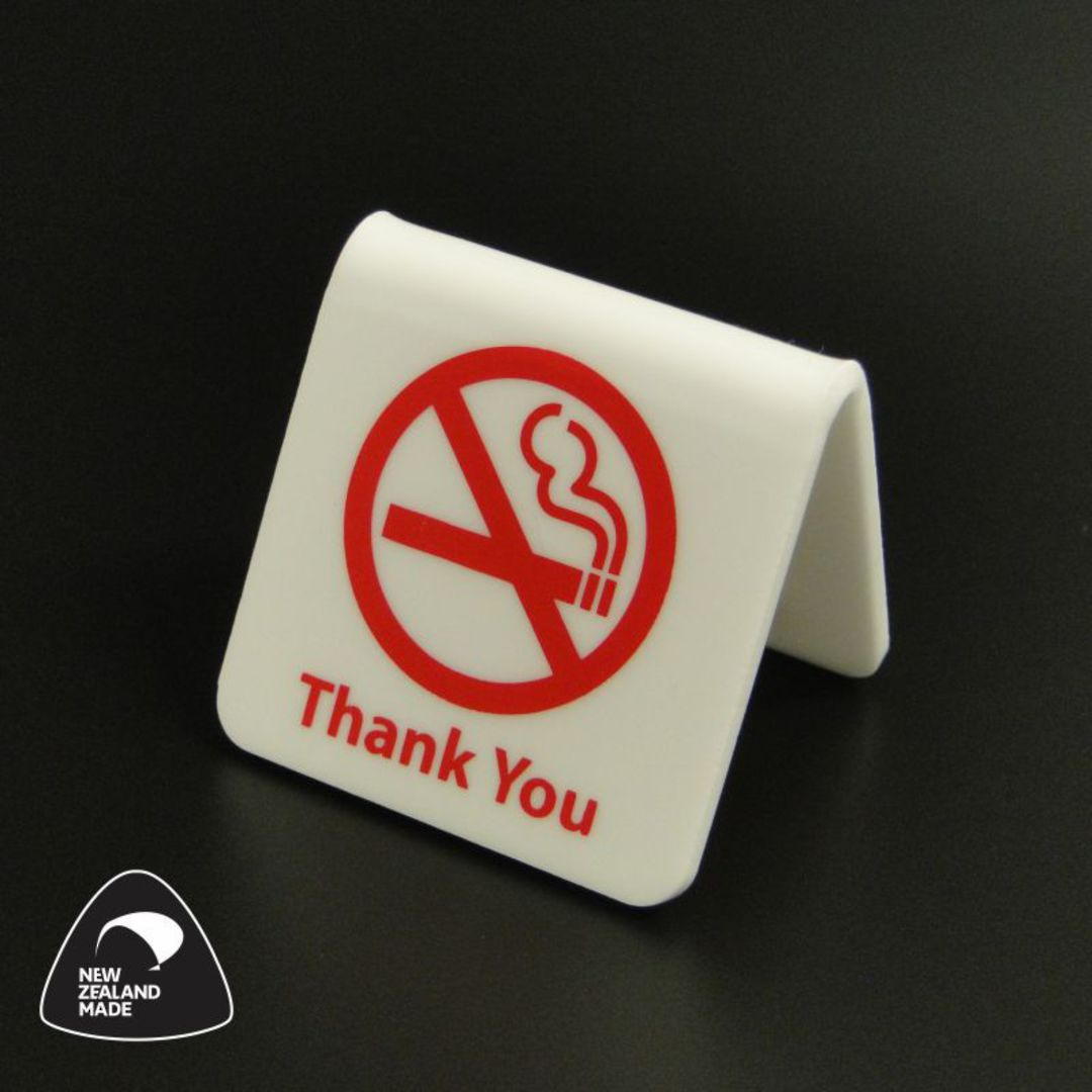 White/Red No Smoking Table Signs image 0