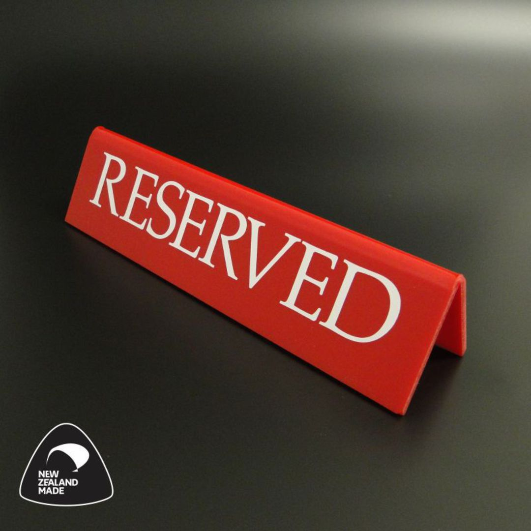 Large Red RESERVED Table Sign image 0