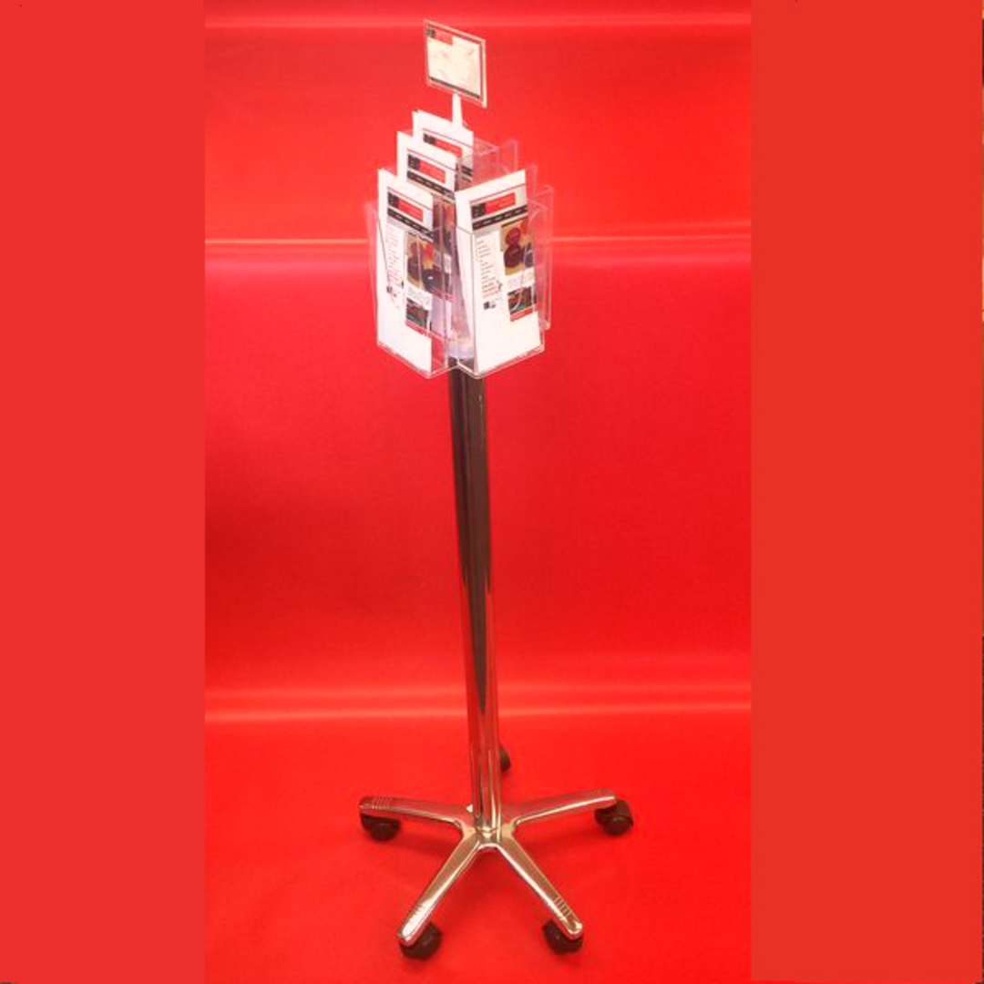 DLE x8 Floor Stand Revolving Brochure Holder (with castors) image 1