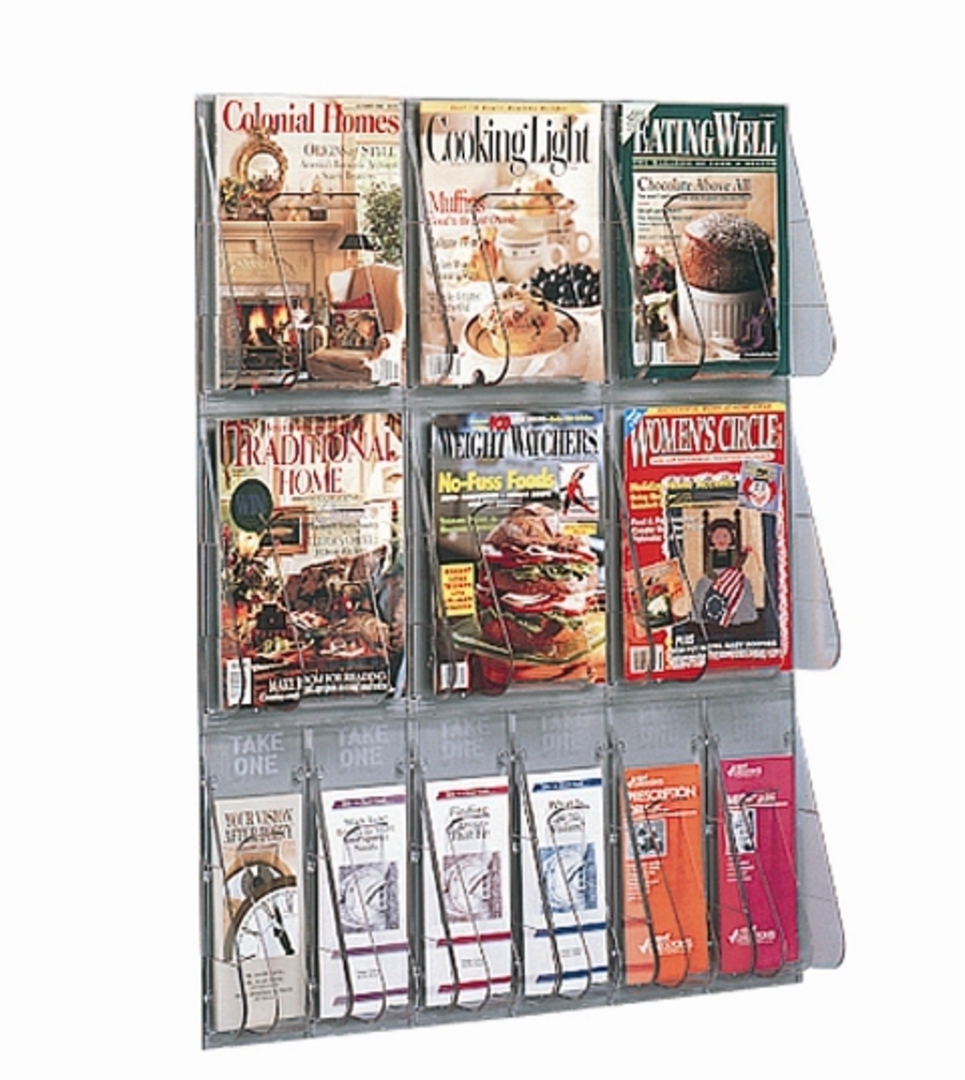 "(56901) ""Stand-Tall"" Literature Rack, 6 x A4, 6 x DLE, Wall Rack image 0"