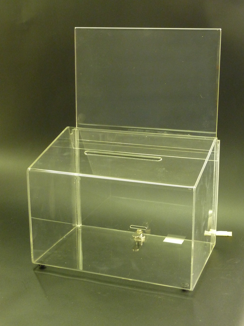 (66611) Ballot Box, Clear, with Key Lock & A4 Landscape Sign Holder image 0