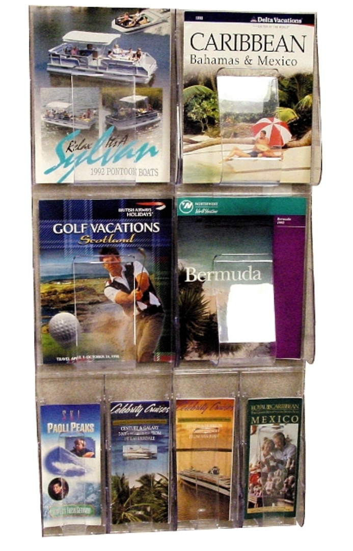 "(56701) ""Stand-Tall"" Literature Rack, 4 x A4, 4 x DLE, Wall Rack image 0"