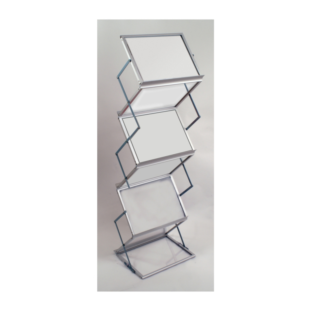 Literature Display Rack, Metal & Acrylic, Collapsible A3 x 6 with Aluminium Carry Case image 0
