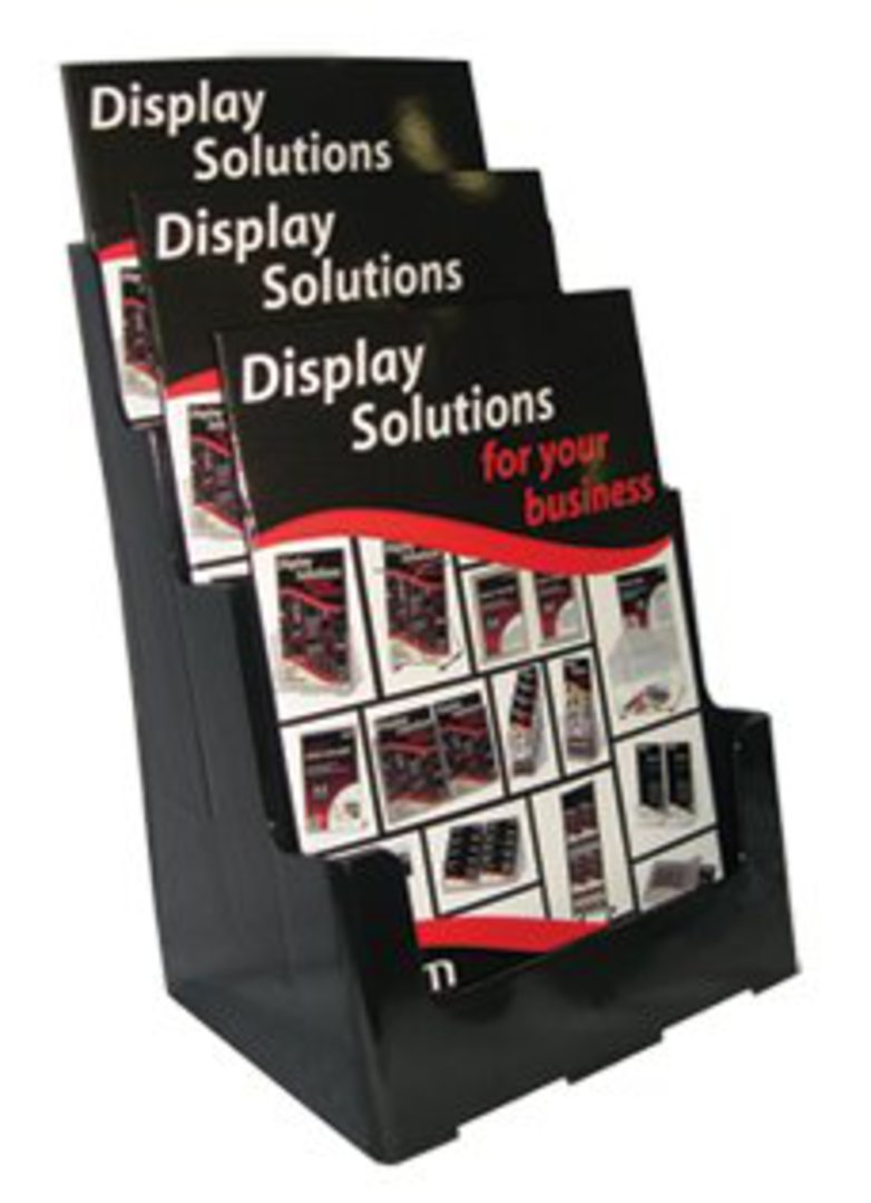 A4 3-Tier Black Recycled Desk/Wall Mount image 0
