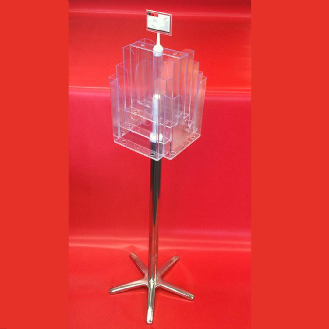 A4x8 Floor Stand Revolving Brochure Holder no castors image 0