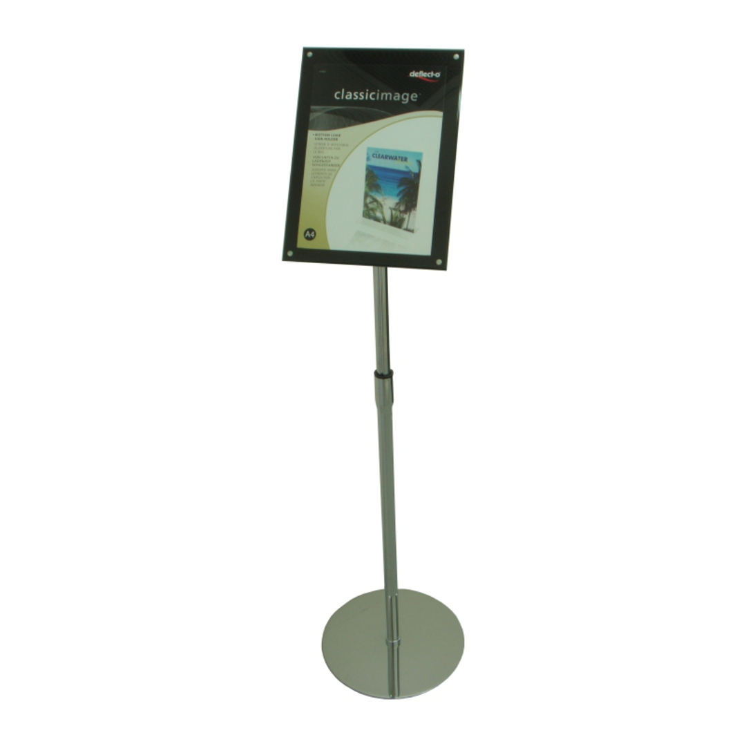 Acrylic Floor Stand, A4 Clear/Black with Chrome Pole and Base image 0