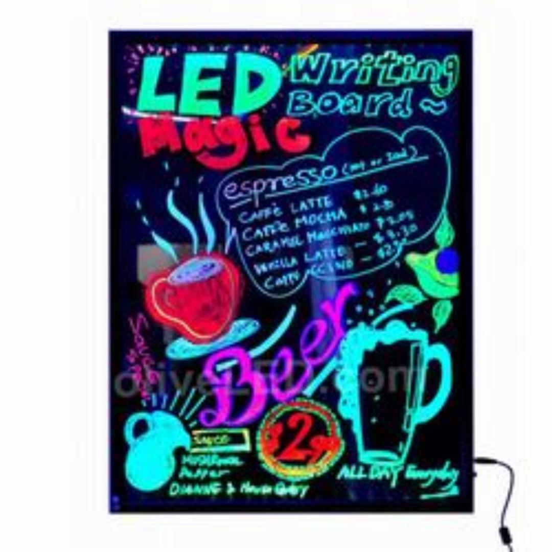 LED Writing Board Black Frame A1 600x800mm image 0