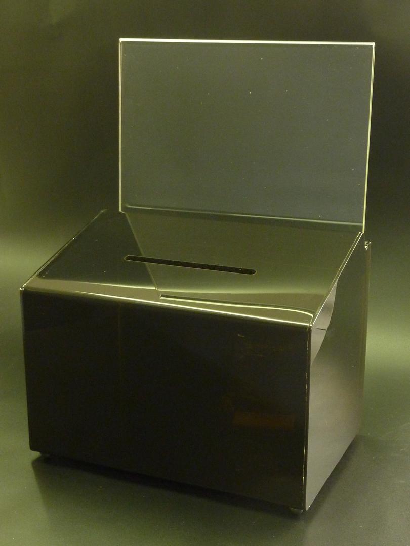 (66612) Ballot Box, Smoke, with Key Lock & A4 Landscape Sign Holder image 0