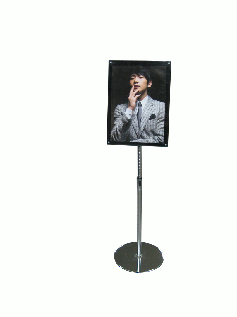 Acrylic Floor Stand, A3 Clear/Black with Chrome Pole and Base image 0