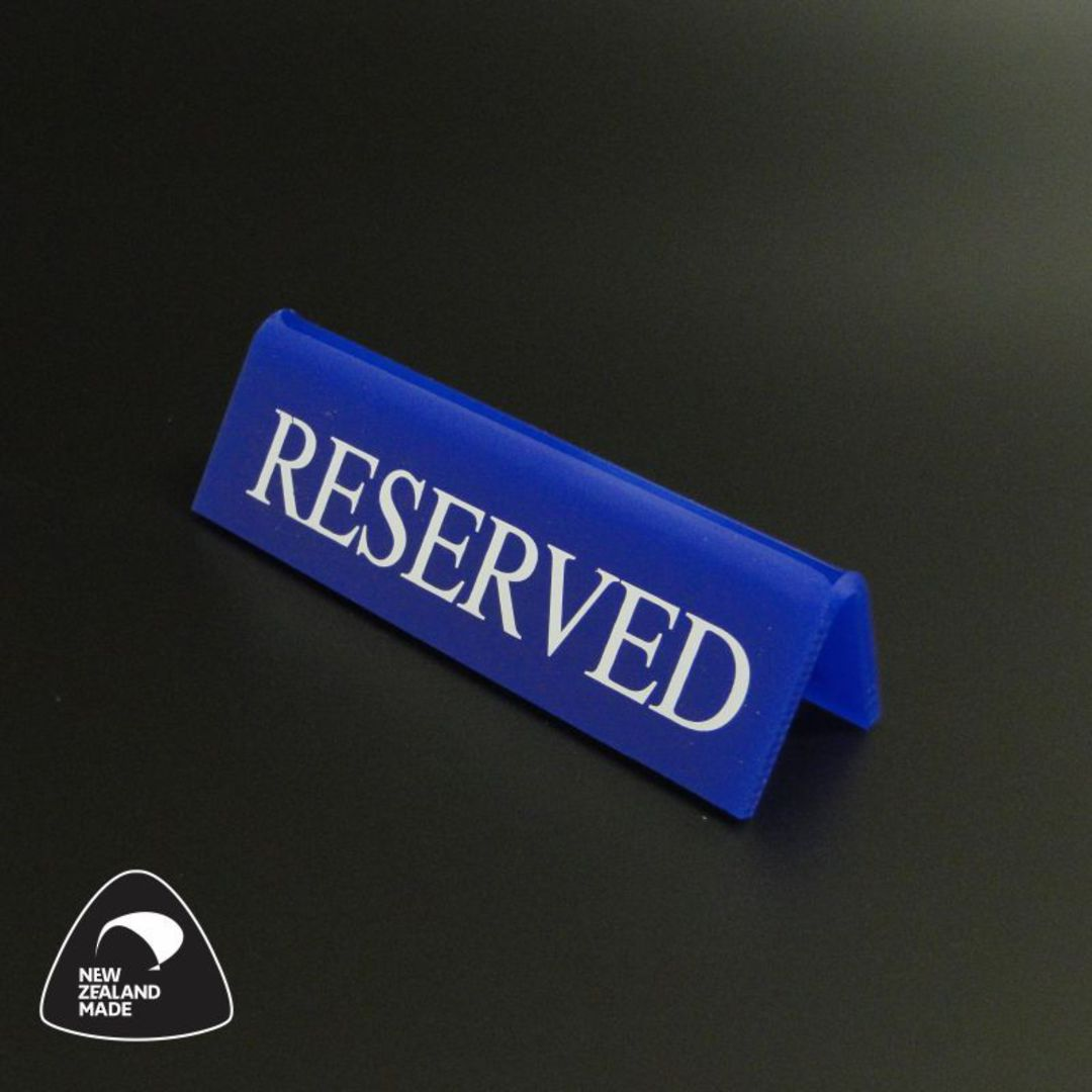 Small Blue RESERVED Table Sign image 0
