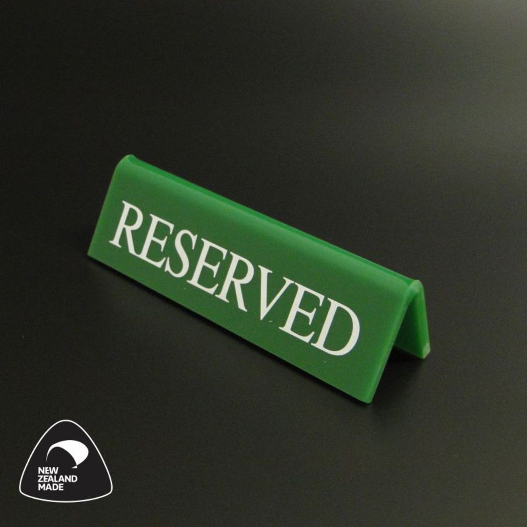 Small Green RESERVED Table Sign image 0