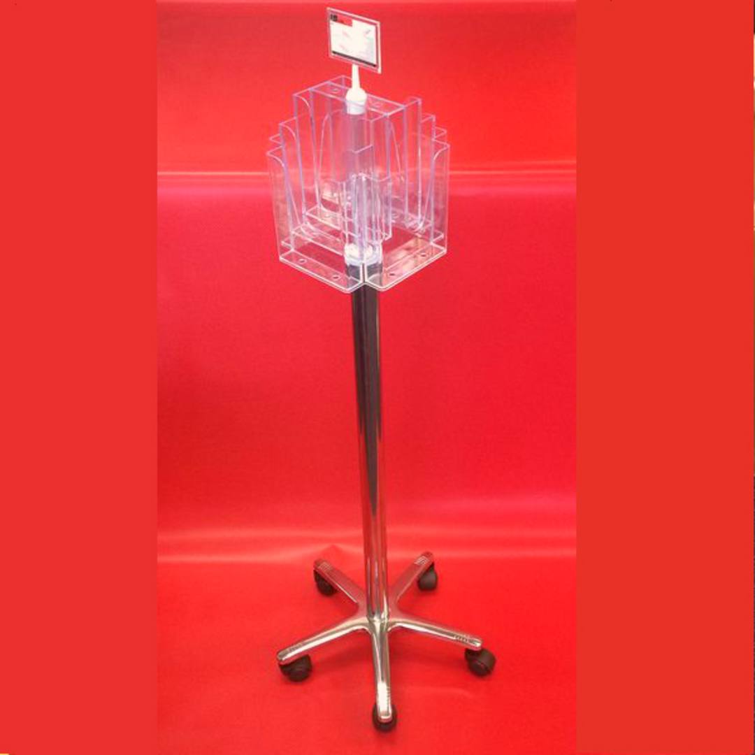 A5x8 Floor Stand Revolving Brochure Holder with castors image 0