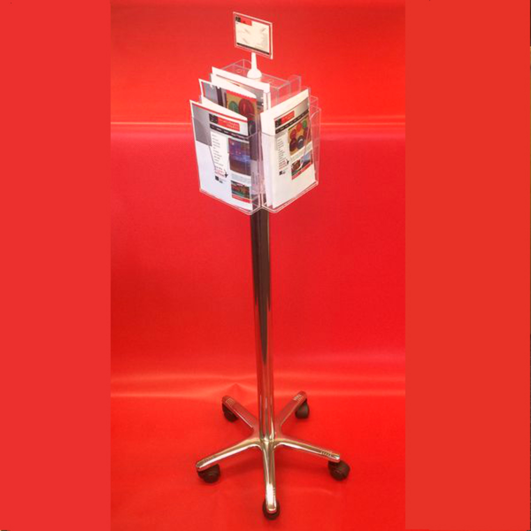 A5x8 Floor Stand Revolving Brochure Holder with castors image 1