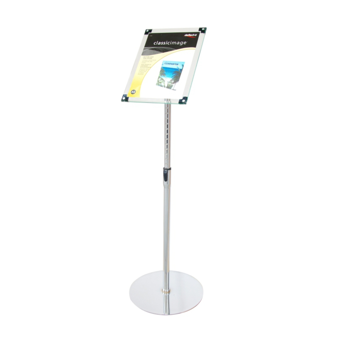 Acrylic Sign Floor Stand A4 Clear with Chrome Pole and Base image 0