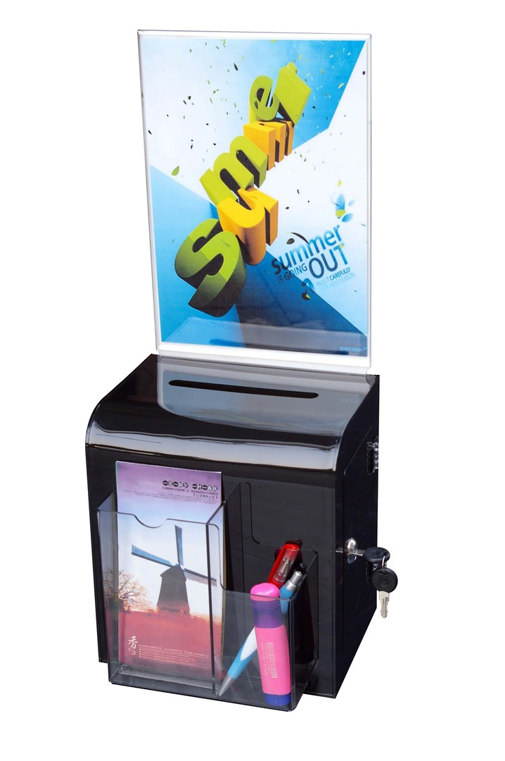 (86112) Ballot Box, Smoke, Wall Mount with Key Lock & Sign Holder image 0