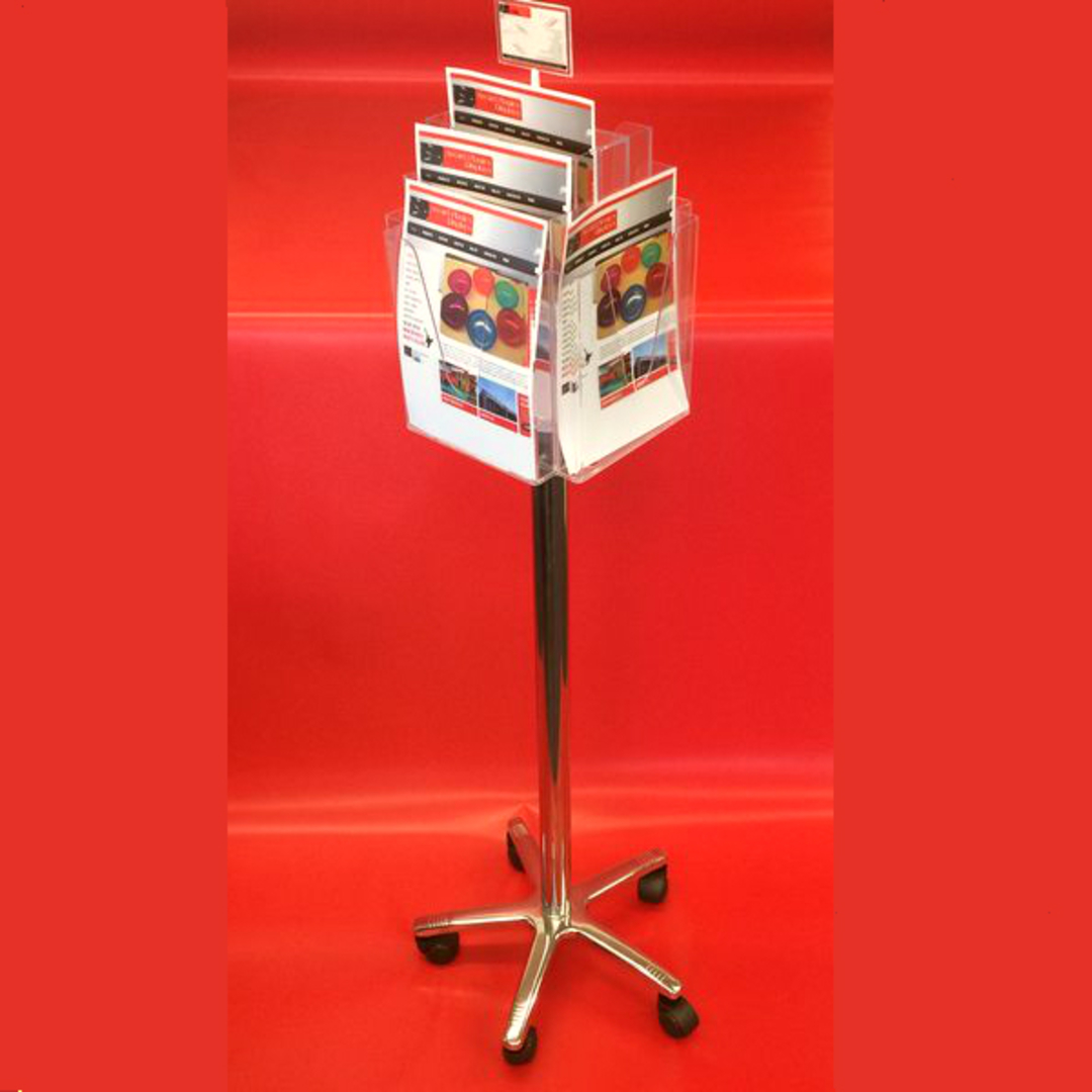 A4x8 Floor Stand Revolving Brochure Holder with castors image 1