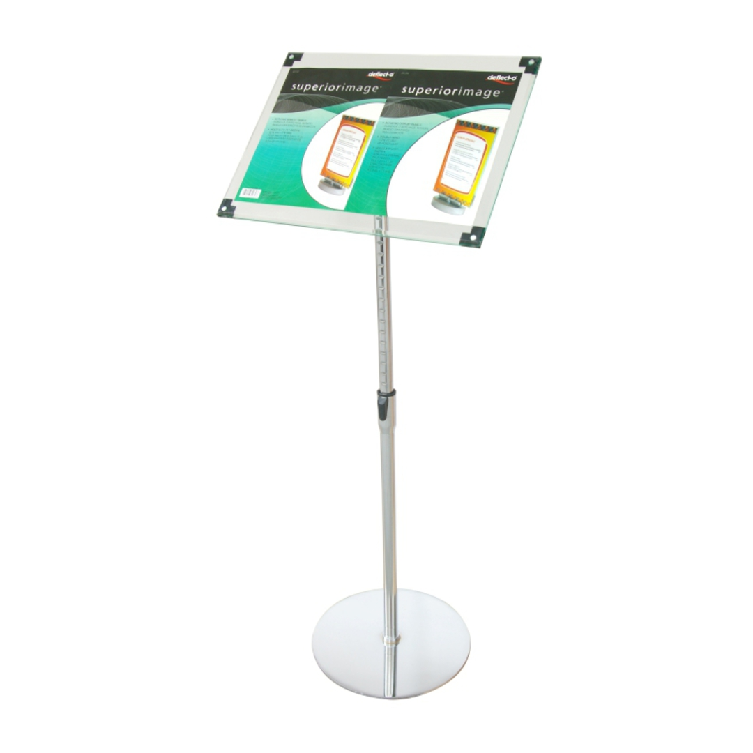 Acrylic Floor Stand, A3 Clear with Chrome Pole and Base image 0