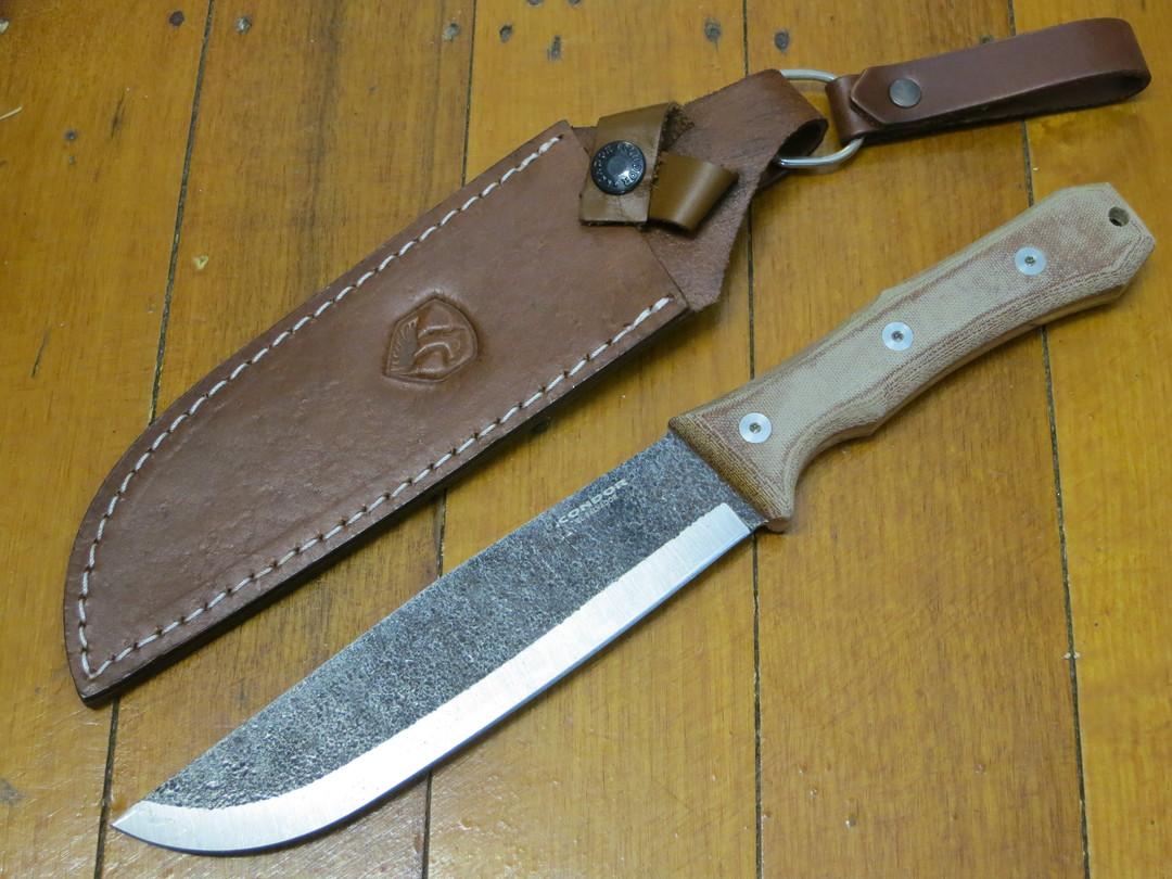 Condor Mountain Pass Camp Knife 1095 Carbon Steel, Micarta Handles, Leather Sheath image 0