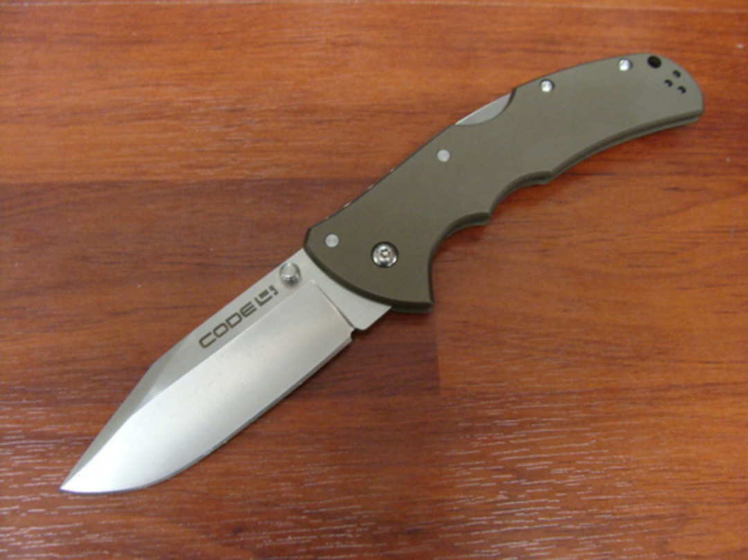 Cold Steel Code 4 Clip Point Folding Knife S35VN Satin Plain Blade, Aluminum Handles image 0