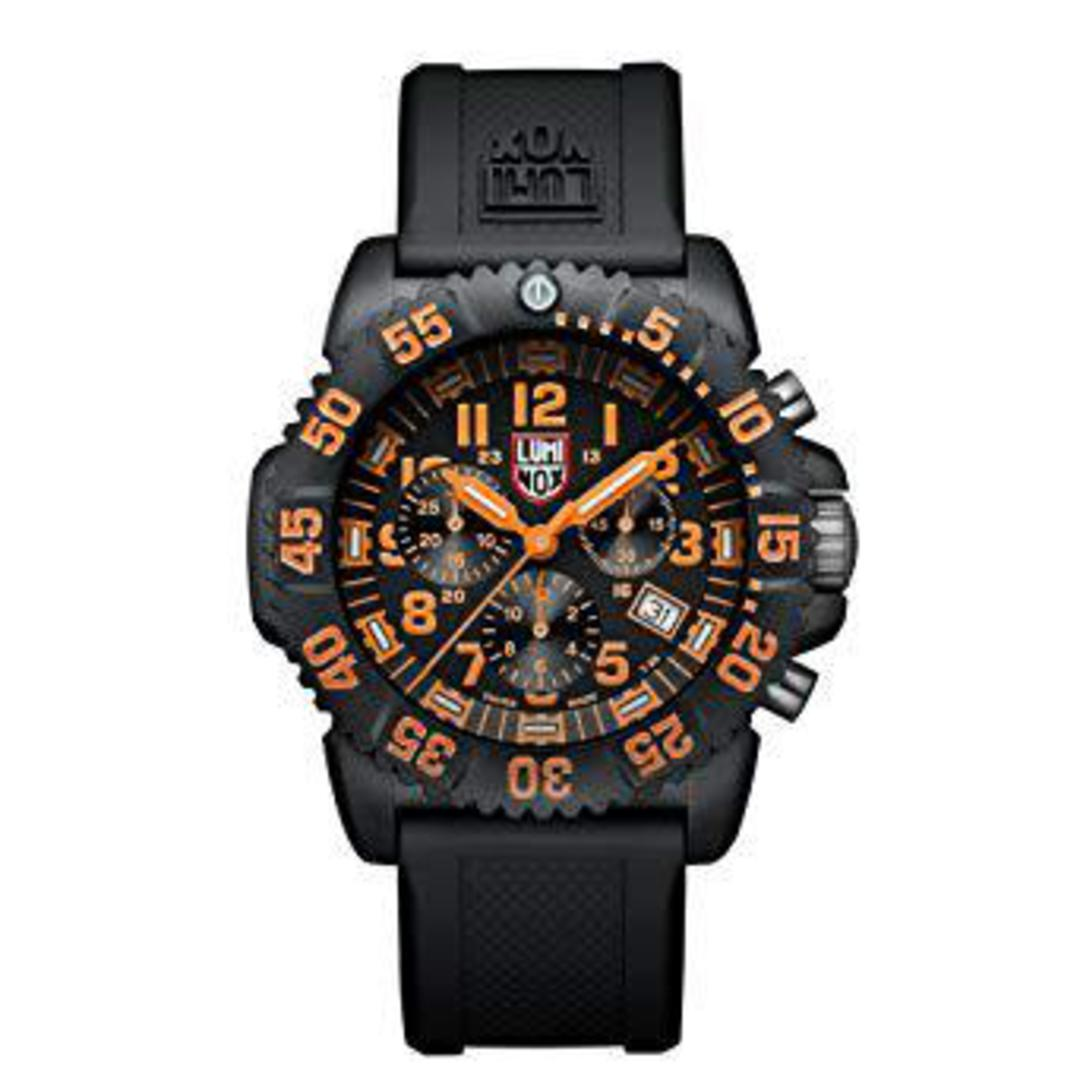 LUMINOX NAVY SEAL COLORMARK CHRONOGRAPH BLACK/ORANGE WATCH - 3089 image 0