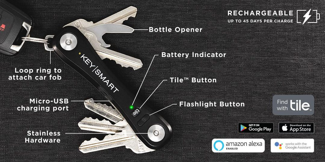 KeySmart Pro With Tile Smart Location Black image 0