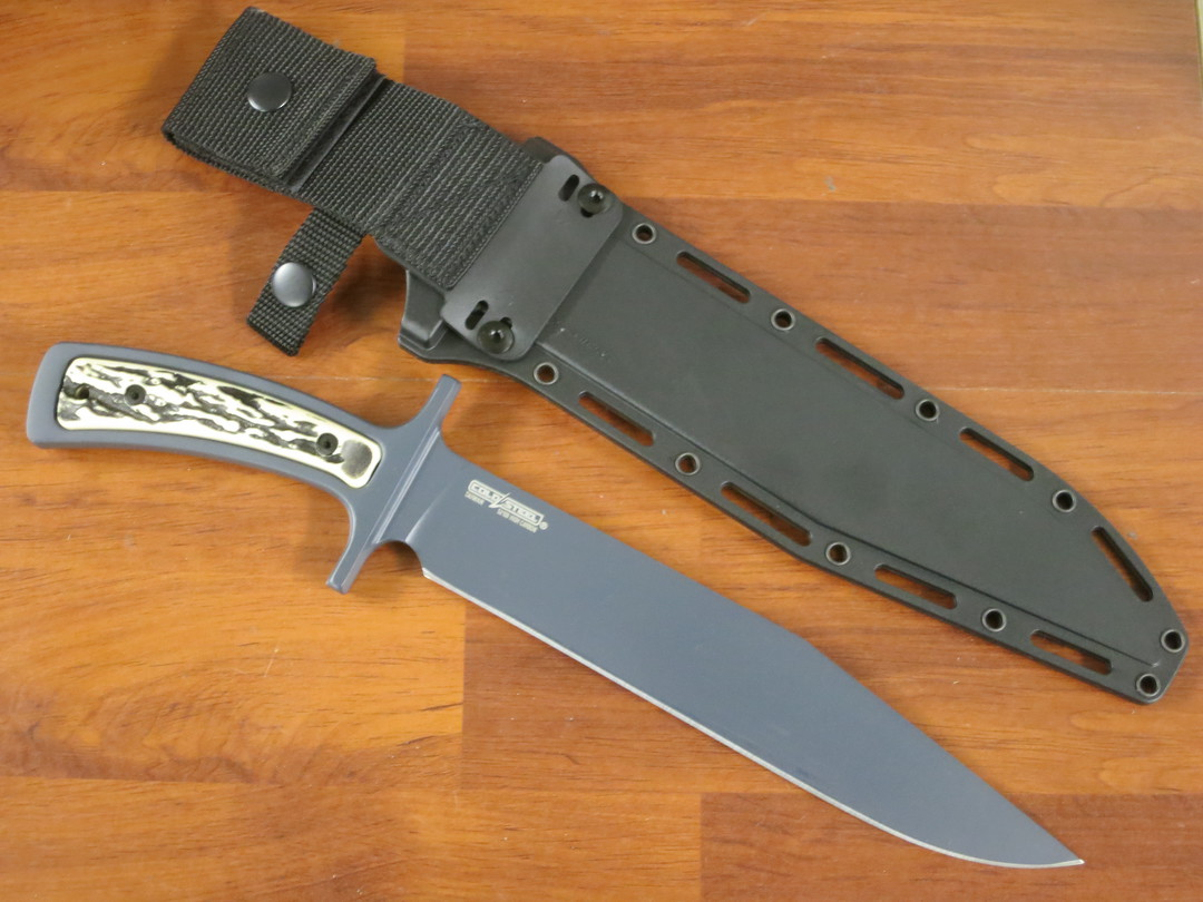 Cold Steel Drop Forged Bowie Blade Knife, Carbon Steel, Faux Stag Handles, Secure-Ex Sheath image 1