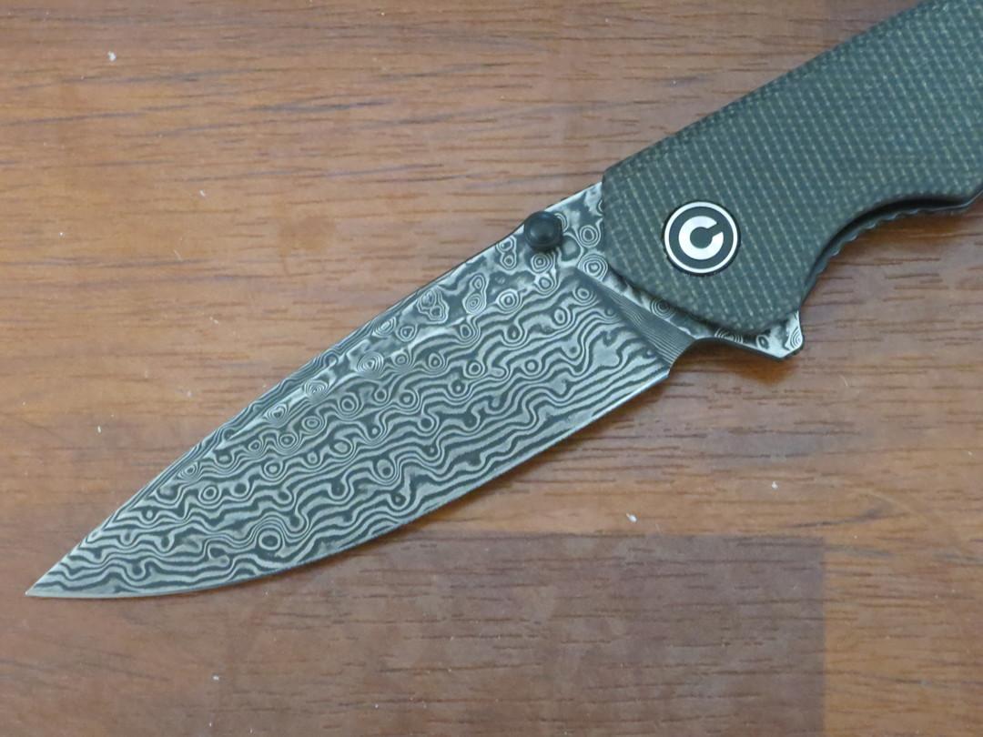 CIVIVI Knives Brazen Flipper Knife Damascus Drop Point Blade, Dark Green Micarta Handles image 2