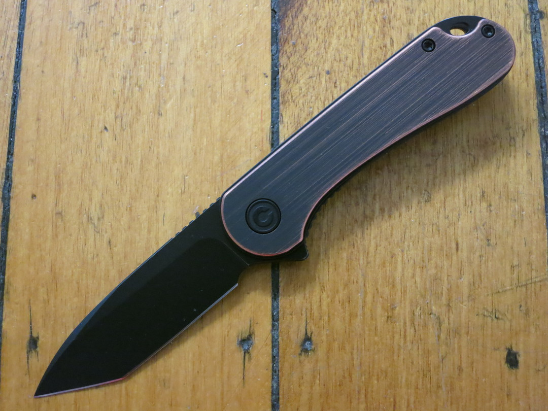 CIVIVI Knives Elementum Tanto Flipper, D2 Black Stonewashed, Black Hand Rubbed Copper Handles image 0