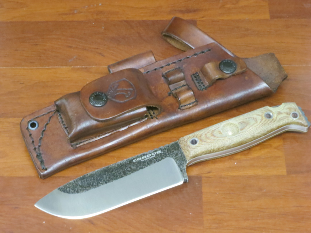 Condor Selknam Knife 1075 Carbon Steel, Micarta Handles, Welted Leather Sheath with Fire Starter image 0