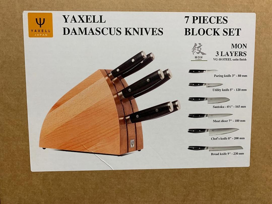 Mon Japanese Damascus VG-10 7 Pce Knife Block Set - 3 layers image 0