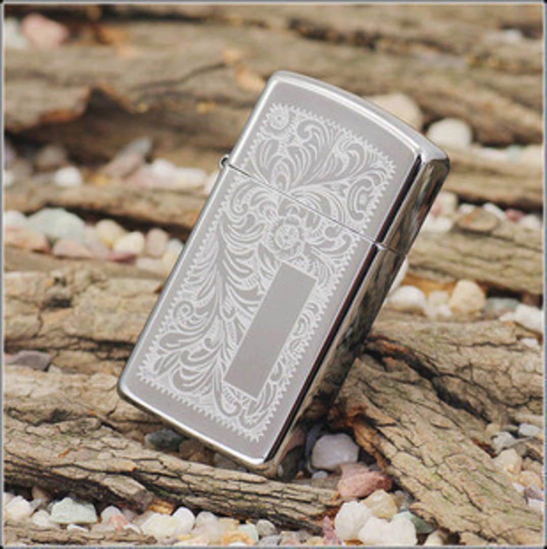 Zippo Slim Venetian Chrome Lighter image 0