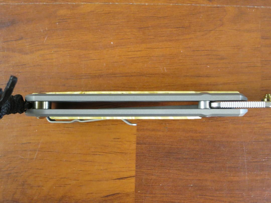 Chris Reeve Large Sebenza 31, S45VN Satin Blade, Titanium Handles with Box Elder Burl Inlays image 5
