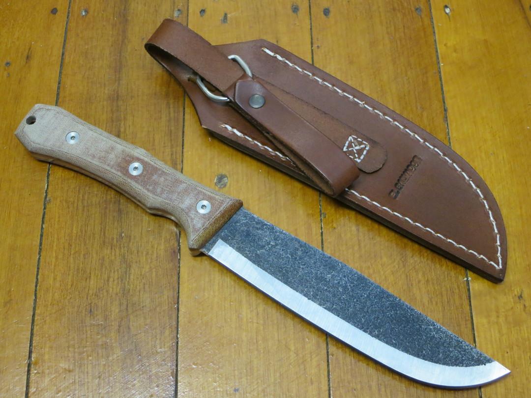 Condor Mountain Pass Camp Knife 1095 Carbon Steel, Micarta Handles, Leather Sheath image 1
