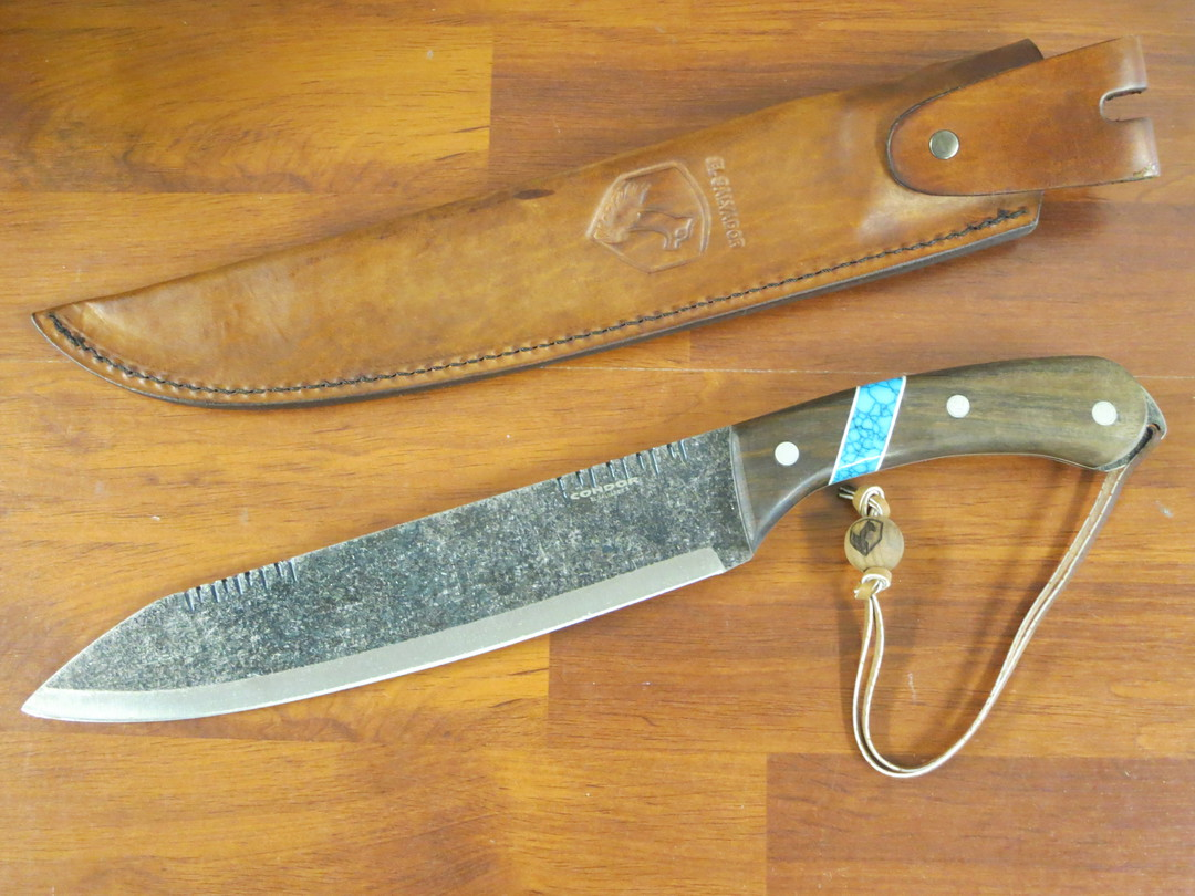 Condor Blue River Machete, Walnut Wood Handle w/ Reconstituted Turquoise Stone Inlay, Leather Sheath image 0