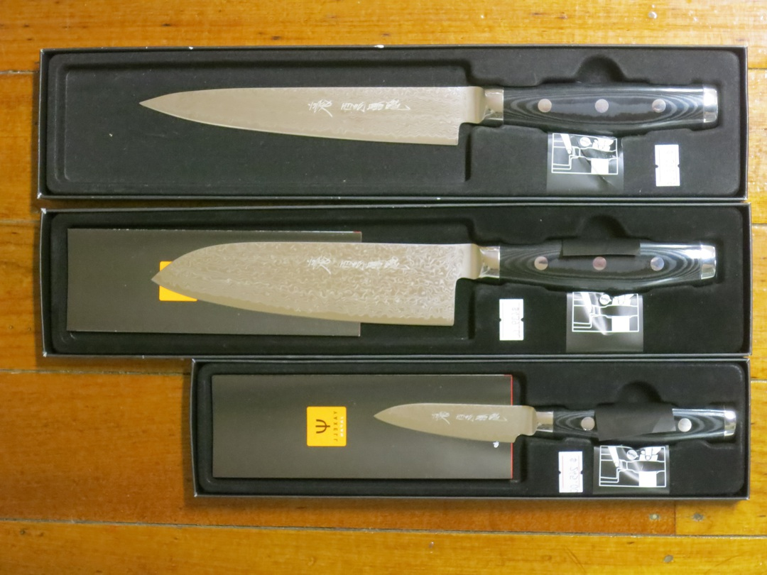 GOU Damascus Santoku Knife 3PC Gift Set image 0