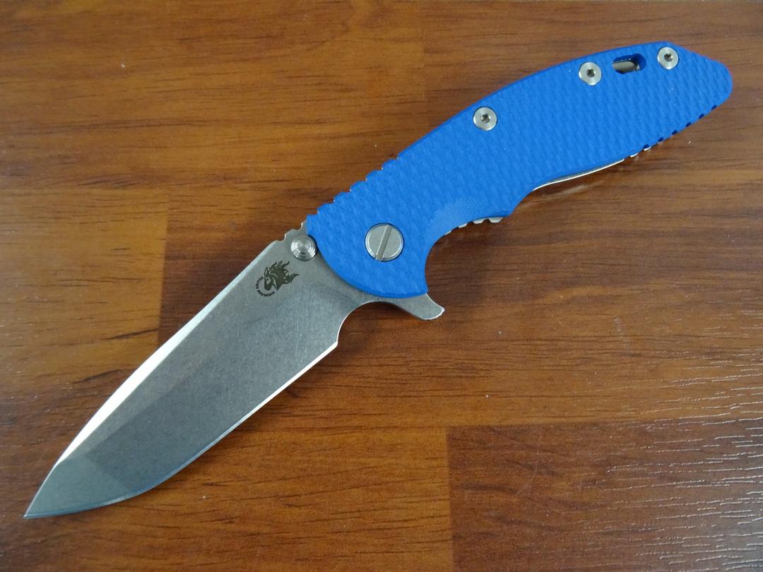 Rick Hinderer Tri-Way XM-18 3.5 Flipper;  S45VN Spanto-Stonewash-Blue G10 image 0