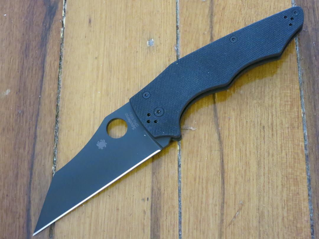 Spyderco YoJumbo Blackout Folding Knife,  Black DLC Blade, Coarse Black G10 Handles image 0