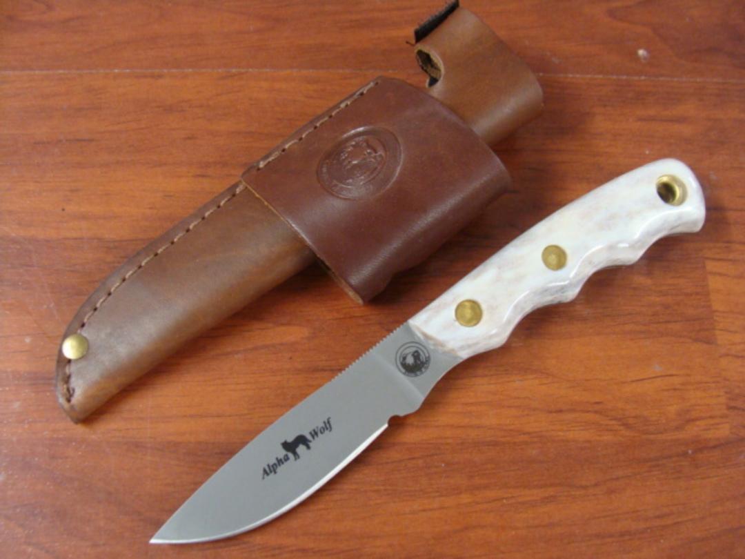 Knives of Alaska Alpha Wolf D2 Stag Knife - 327FG image 0