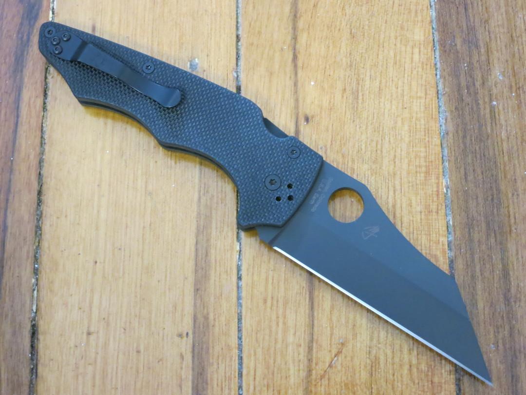 Spyderco YoJumbo Blackout Folding Knife,  Black DLC Blade, Coarse Black G10 Handles image 1