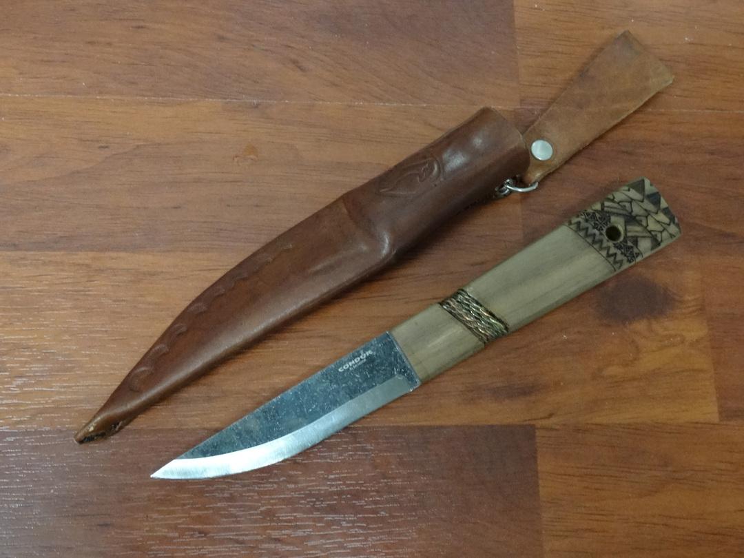 Condor Indigenous Puukko Knife, Walnut Handles, Welted Leather Sheath image 0