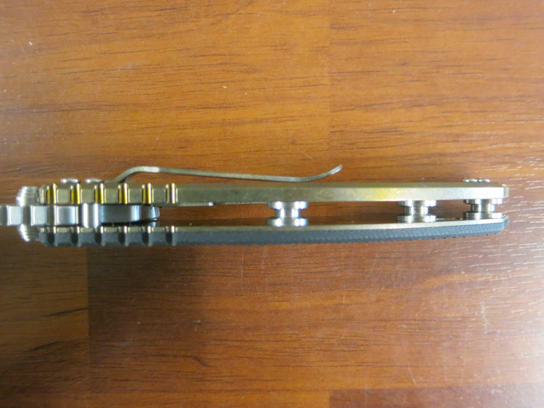Rick Hinderer Knives Tri-Way XM-18 Flipper, CPM-20CV Stonewashed Slicer Blade, Black G10 Handle with Bronze Titanium Lock image 5