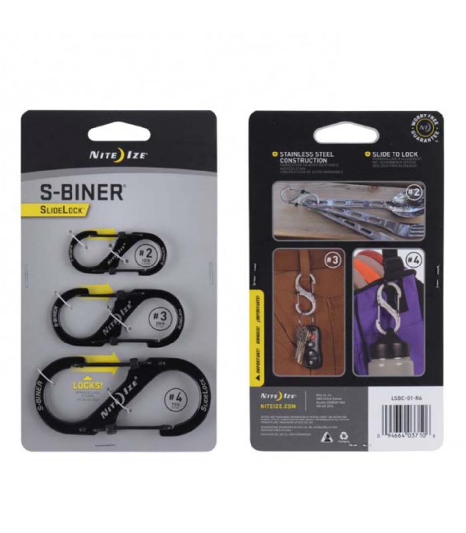 Nite Ize S-Biners Stainless Steel SlideLock- 3 Pack -Black image 0