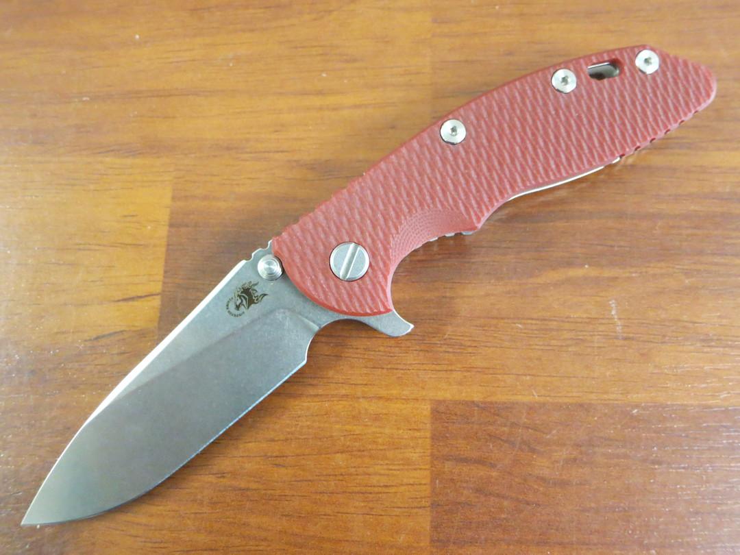 Rick Hinderer Knives Tri-Way XM-18 Flipper, CPM-20CV Stonewashed Slicer Blade, Red G10 Handle with Titanium Lock image 0