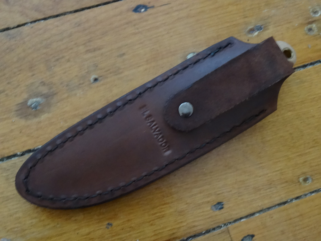 Condor Trelken Fixed Blade Knife Hickory Wood Handles, Welted Leather Drop Sheath image 1