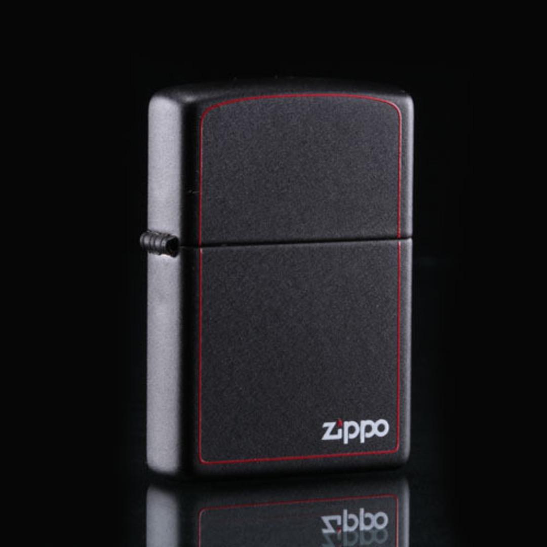 Zippo Black Matte w/ Border Lighter image 0