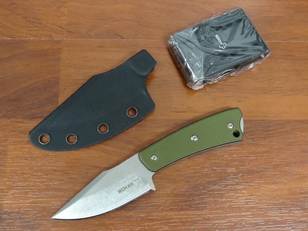 "Boker Plus Scott McGhee Piranha Fixed 2.9"" Stonewashed Blade, Green G10 Handles, Kydex Sheath image 0"