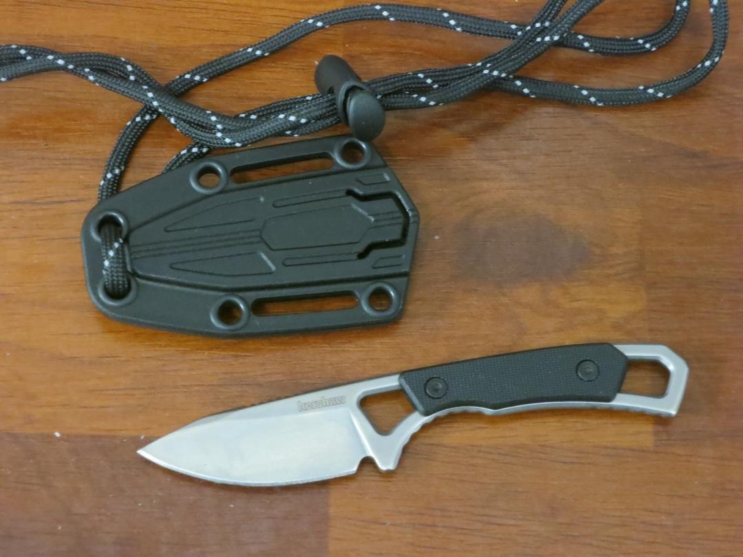 Kershaw Brace Fixed Blade Neck Knife Drop Point, Black GFN Handles, Plastic Sheath image 0